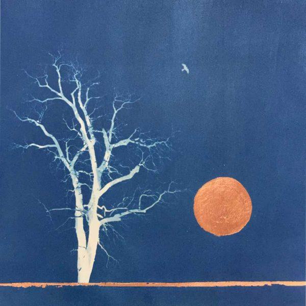 tree moon bird cyanotype