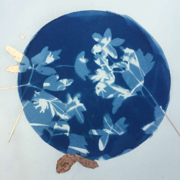 cyanotype blue white flowers copper leaf detail