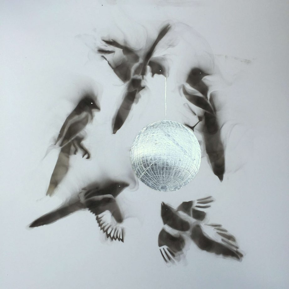 five flying magpies silver glitter disco ball