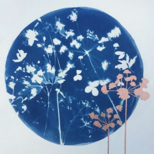 wild flowers white against blue background copper detail